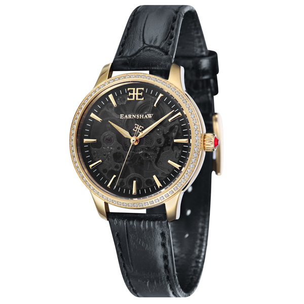Thomas Earnshaw Ladies' Australis IP Watch and Genuine Leather Strap Black