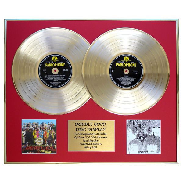 The Beatles Sgt Peppers & Revolver Framed Double CD on Gold Discs Limited Edition of 100 Only No Colour