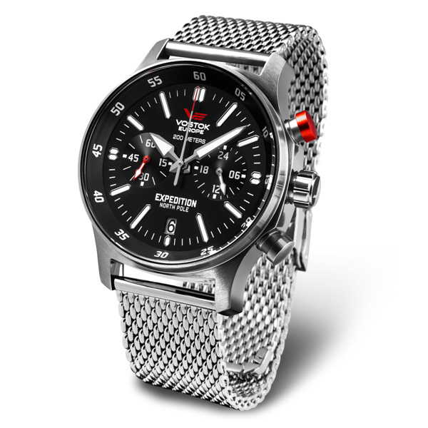Vostok Europe Gent's Expedition N1 Chronograph Watch with Milanese Bracelet Silver