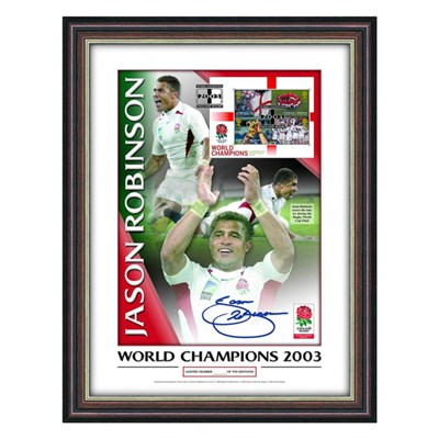 Jason Robinson Personally Signed England World Cup 2003 Winner Framed Photo