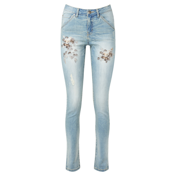 Joe Browns Embroidered Flower Jeans Light Wash Denim