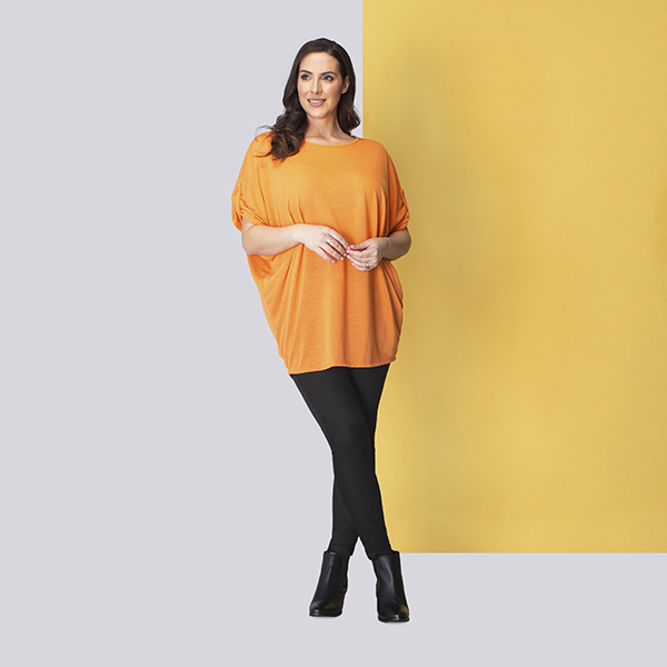 Sugar Crisp Tab Detail Tunic Orange