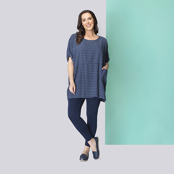 Sugar Crisp Print Pocket Tunic Navy