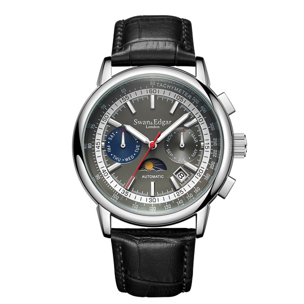 Swan & Edgar Ltd Edt Western Mail Tachymeter Automatic Genuine Leather Strap & Gift Black/Silver
