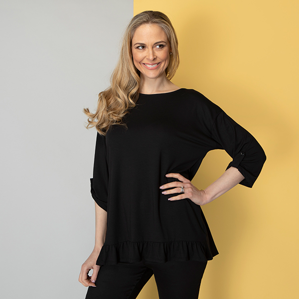 Indigo & Co Viscose Frill Hem Top with Tab Detail Cuff Black