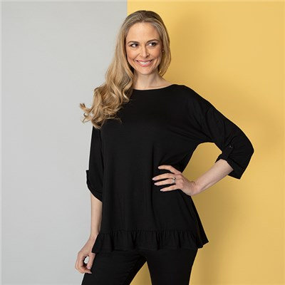 Indigo & Co Viscose Frill Hem Top with Tab Detail Cuff