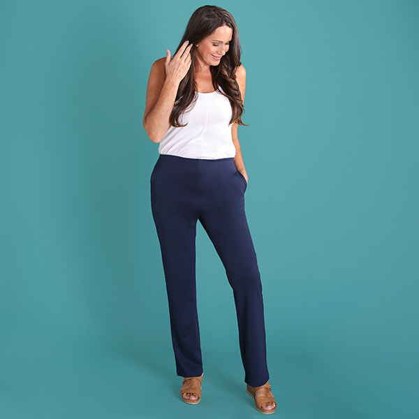 Emelia Pull On Ponte Trouser 29 Inch Navy