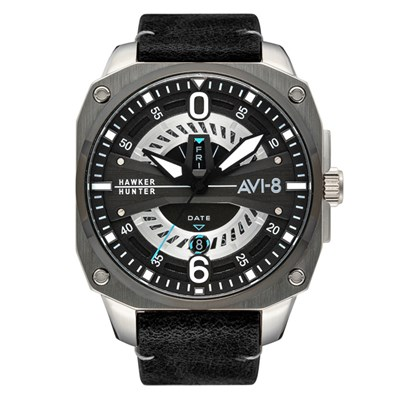 Avi-8 Gent's Hawker Hunter Day Date Watch with Genuine Leather Strap