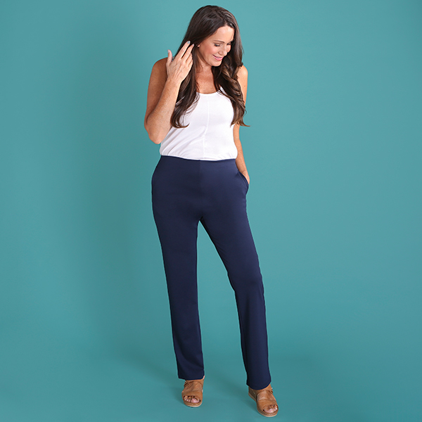 Emelia Pull On Ponte Trouser 31 Inch Navy