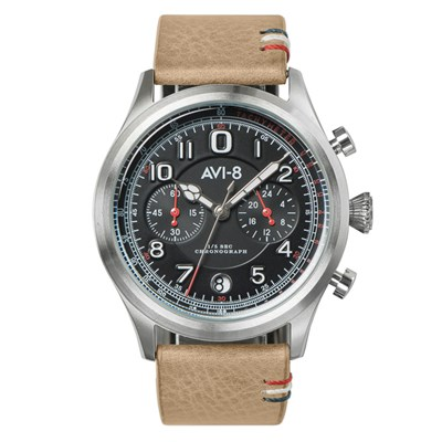 Avi-8 Gent's Flyboy Lafayette Chronograph Watch with Genuine Leather Strap