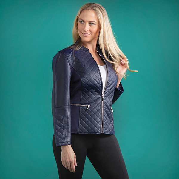 Stolen Heart Quilted Faux Leather Biker Jacket Navy