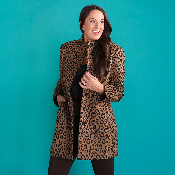 Styled By Leopard Print Funnel Neck Coat Animal Print