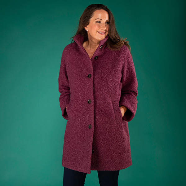 Stolen Heart Funnel Neck Boucle Coat Heather