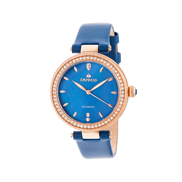Empress Ladies' Louise Automatic Watch with Genuine Leather Strap Blue