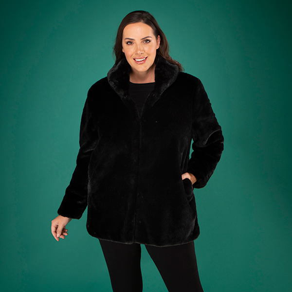 Stolen Heart Faux Fur Coat Black