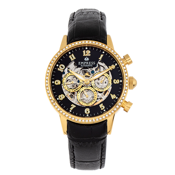 Empress Ladies' Beatrice Automatic Watch with Genuine Leather Strap Black/Gold