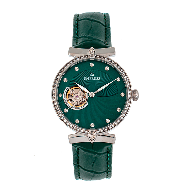 Empress Ladies' Edith Automatic Watch with Genuine Leather Strap Green