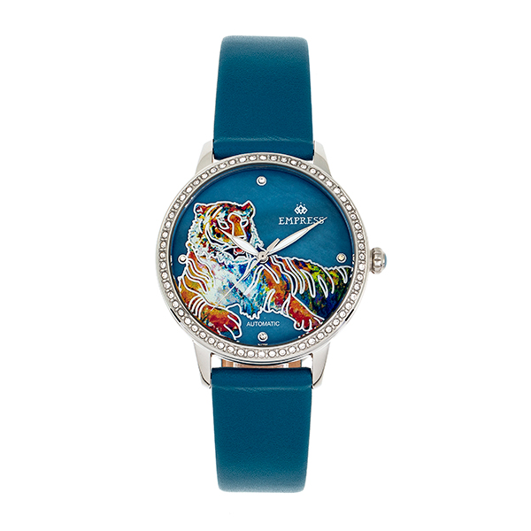 Empress Ladies' Diana Automatic Watch with Genuine Leather Strap Blue