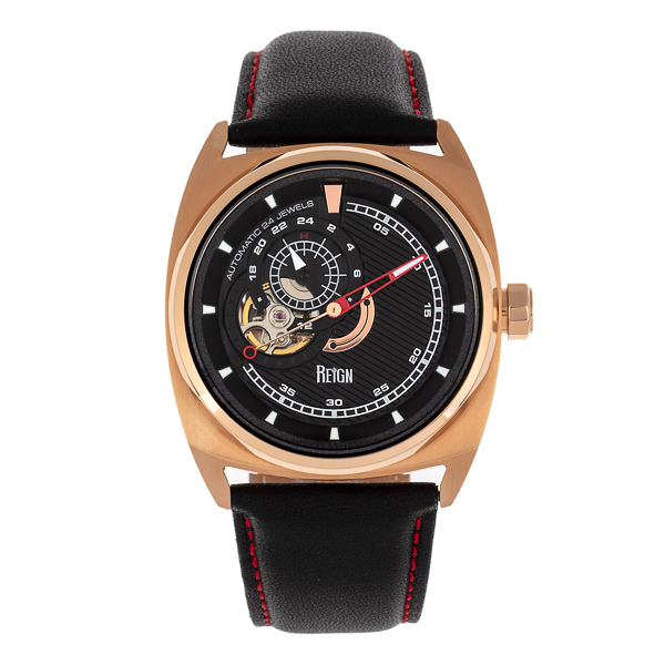 Reign Gent's Astro Automatic Watch with Genuine Leather Strap Black/Gold