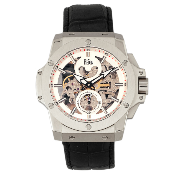 Reign Gent's Commodus Automatic Watch with Genuine Leather Strap Silver