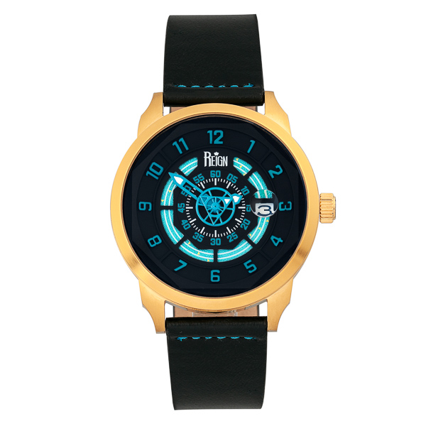 Reign Gent's Lafleur Automatic Watch with Genuine Leather Strap Black/Blue