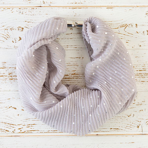 Pleated Foil Spot Magnetic Scarf Grey