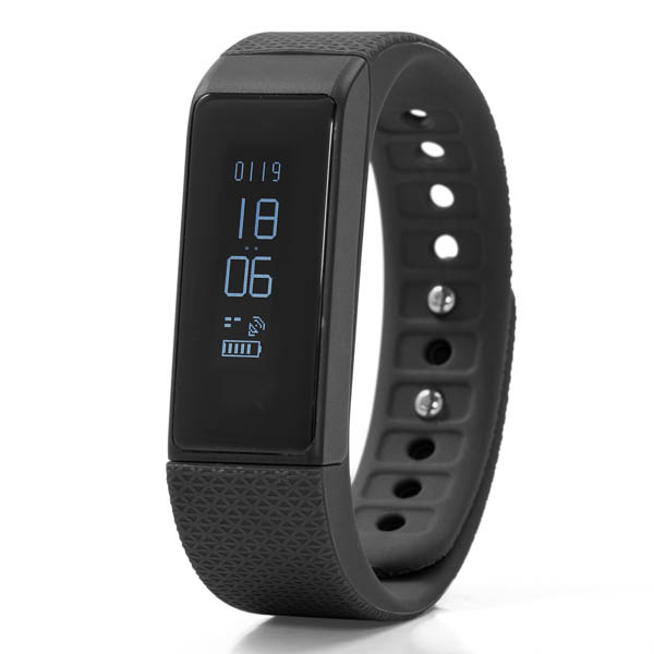 Nuband I Touch Activity and Sleep Tracker Watch with Silicone Strap Black