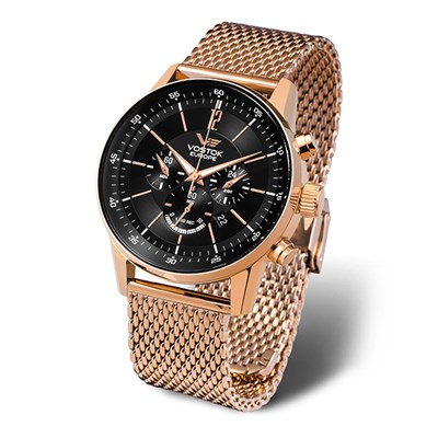 Vostok Europe Gent's GAZ-14 Limousine Chronograph Rose Gold Watch with Milanese Bracelet