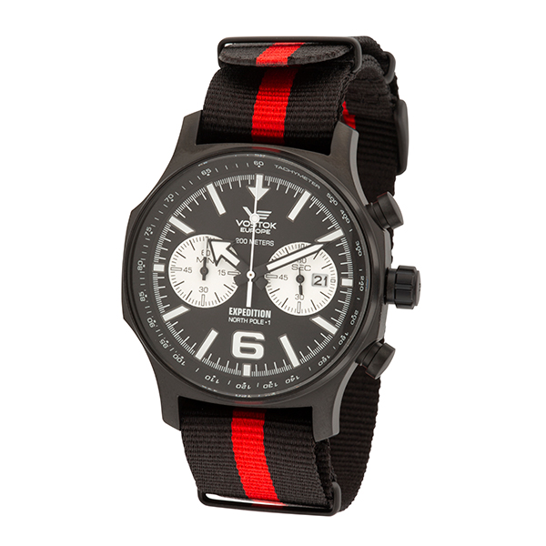 Image of Vostok Europe Gent's Expedition N1 Chronograph PVD Watch with Nato Strap