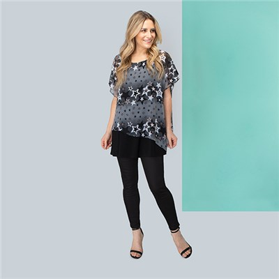 Nicole Star Chiffon Layered Top