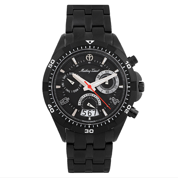 Mathey-Tissot Gent's Bolton Swiss Quartz Chronograph PVD Watch with Stainless Steel Bracelet Black