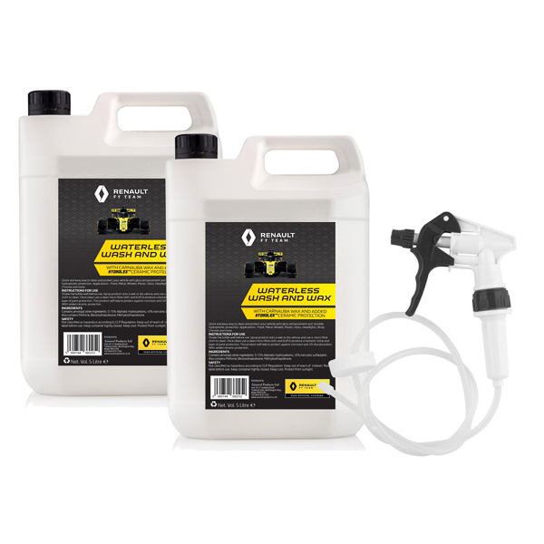 Renault F1 Waterless Wash & Wax 5L (Twin Pack) with Long Hose Trigger No Colour