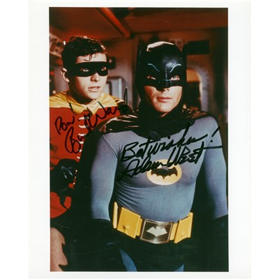 Batman & Robin Framed Colour Photo of Original TV Series Signed by Adam West & Burt Ward