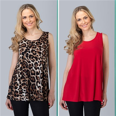 Nicole Print and Plain Camisoles (2 Pack)