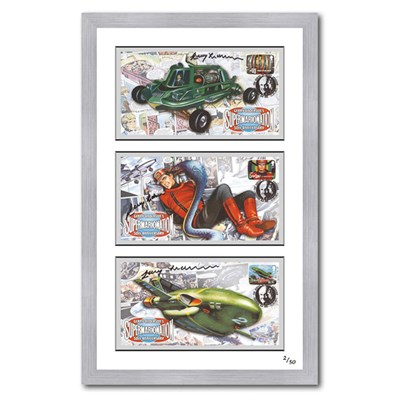 Thunderbirds-Joe90/Capt Scarlet Framed Set of 3 Celebration Covers Signed by Gerry Anderson