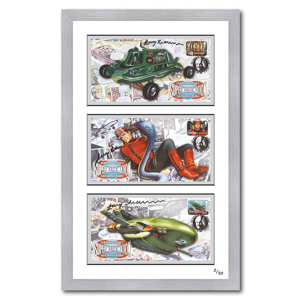 Thunderbirds-Joe90/Capt Scarlet Framed Set of 3 Celebration Covers Signed by Gerry Anderson No Colour