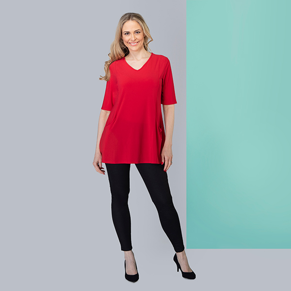 Nicole Half Sleeve Plain Pocket Top Red