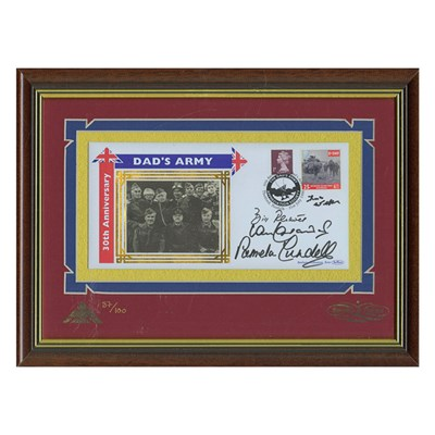 Dads Army Framed Anniversary Commemorative Cover Personally Signed by 4 of Cast