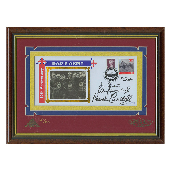 Dads Army Framed Anniversary Commemorative Cover Personally Signed by 4 of Cast No Colour