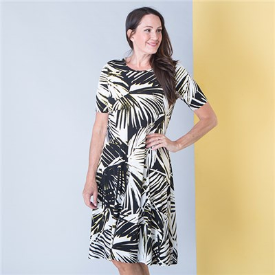Anamor Print Fit and Flare Dress