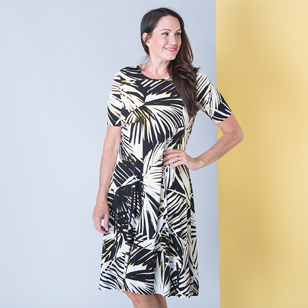 Anamor Print Fit and Flare Dress Black