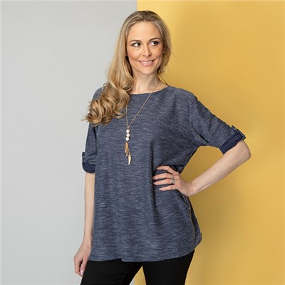 Sugar Crisp Rib Tunic With Necklace
