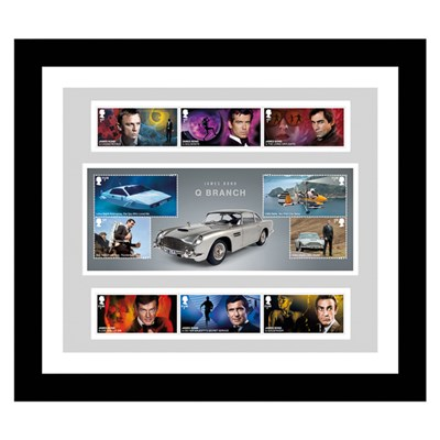 James Bond NEW Framed 007 Collectors Set of James Bond Stamps & Stunning Sheetlet