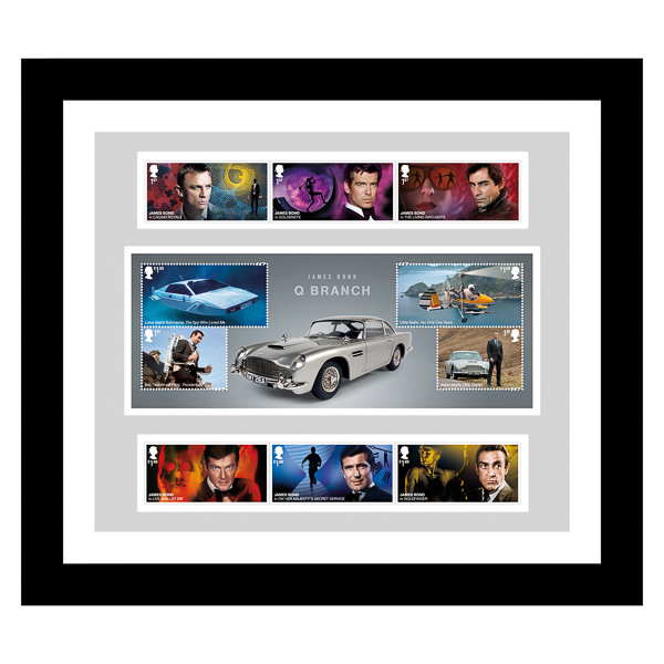 James Bond NEW Framed 007 Collectors Set of James Bond Stamps & Stunning Sheetlet No Colour