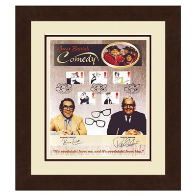 Two Ronnies Framed Photo Print & Full Set of GB Comedy Stamps Personally Signed by Both