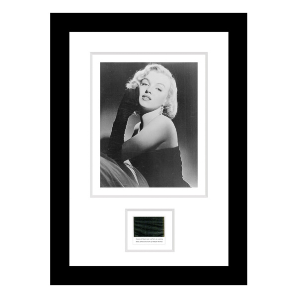 Marilyn Monroe Framed Photo & Original Swatch of Material from One of her Dresses No Colour