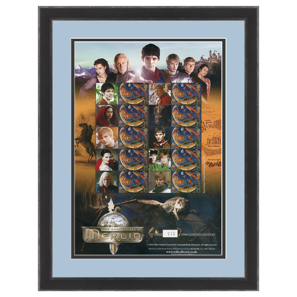 Merlin Framed & Mounted 10 Different Characters Stamps Sheetlet Limited Edition of 1000 Only No Colour
