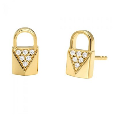 Michael Kors Padlock Pave Stud Earrings