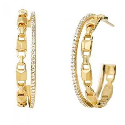 Michael Kors Mercer Double Row Link Gold Plated Hoop Earrings