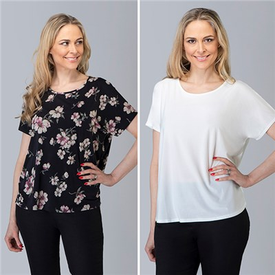 Nicole Floral and Plain Tee Top (2 Pack)